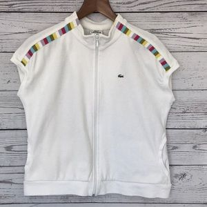 LACOSTE White Full-Zip Cap Sleeve Velour Top 44/12